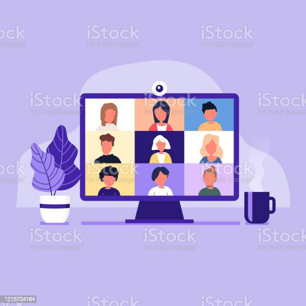 Colleagues Talk To Each Other On The Computer Screen Conference Video Call Working From Home Stock Illustration - Download Image Now