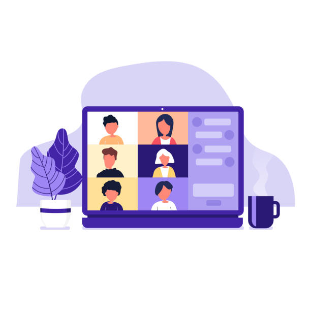 colleagues talk to each other on the laptop screen. conference video call, working from home. - virtual meeting stock illustrations