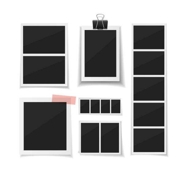 collect moments. set vector photobooth and photos sticked down with paper tape. retro instant fotos on white background - photo booth stock illustrations, clip art, cartoons, & icons