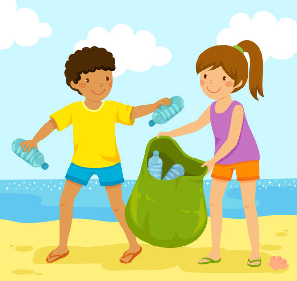 Collecting plastic bottles at the beach Kids cleaning up the beach from polluting plastic bottles. beach clipart stock illustrations
