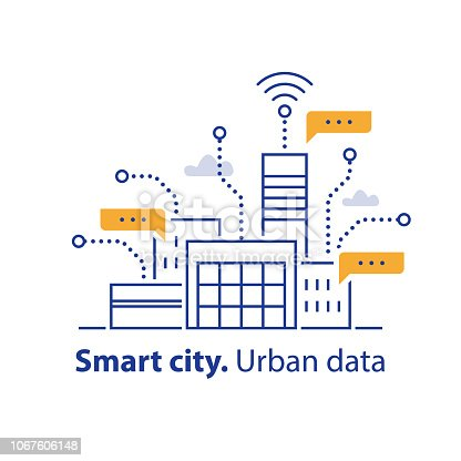 Smart city, collecting urban data, convenient services, modern technology, office building, easy access, real estate development, vector line icon, linear illustration