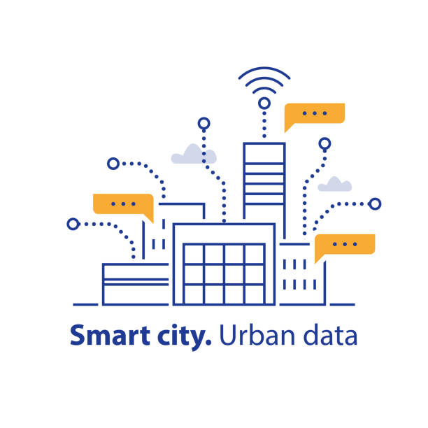 Collecting urban data, smart city, convenient services, modern technology, office building area Smart city, collecting urban data, convenient services, modern technology, office building, easy access, real estate development, vector line icon, linear illustration smart city stock illustrations