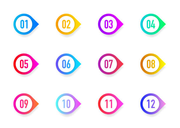 Collection 3D arrows bullet point triangle flags isolated on white background. Colorful gradient markers. Number from 1 to 12. Vector Collection 3D arrows bullet point triangle flags isolated on white background. Colorful gradient markers. Number from 1 to 12. Vector illustration. number stock illustrations