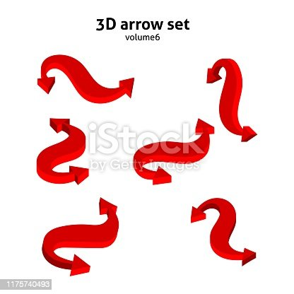 Collection 3d red arrows isolated on white background. Information pointers set. Vector illustration.