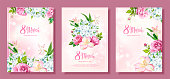 Happy International Womens Day 8 March. Set of three floral backgrounds with blooming flowers of Roses, Alstroemeria, light-blue Phloxes, buds, green leaves on pastel pink background