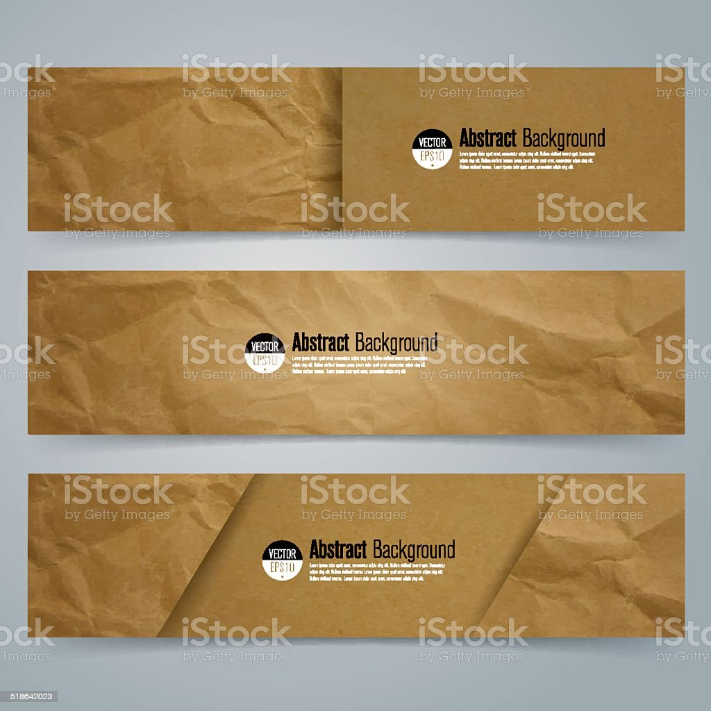 Collection banner design, Brown paper background. vector art illustration