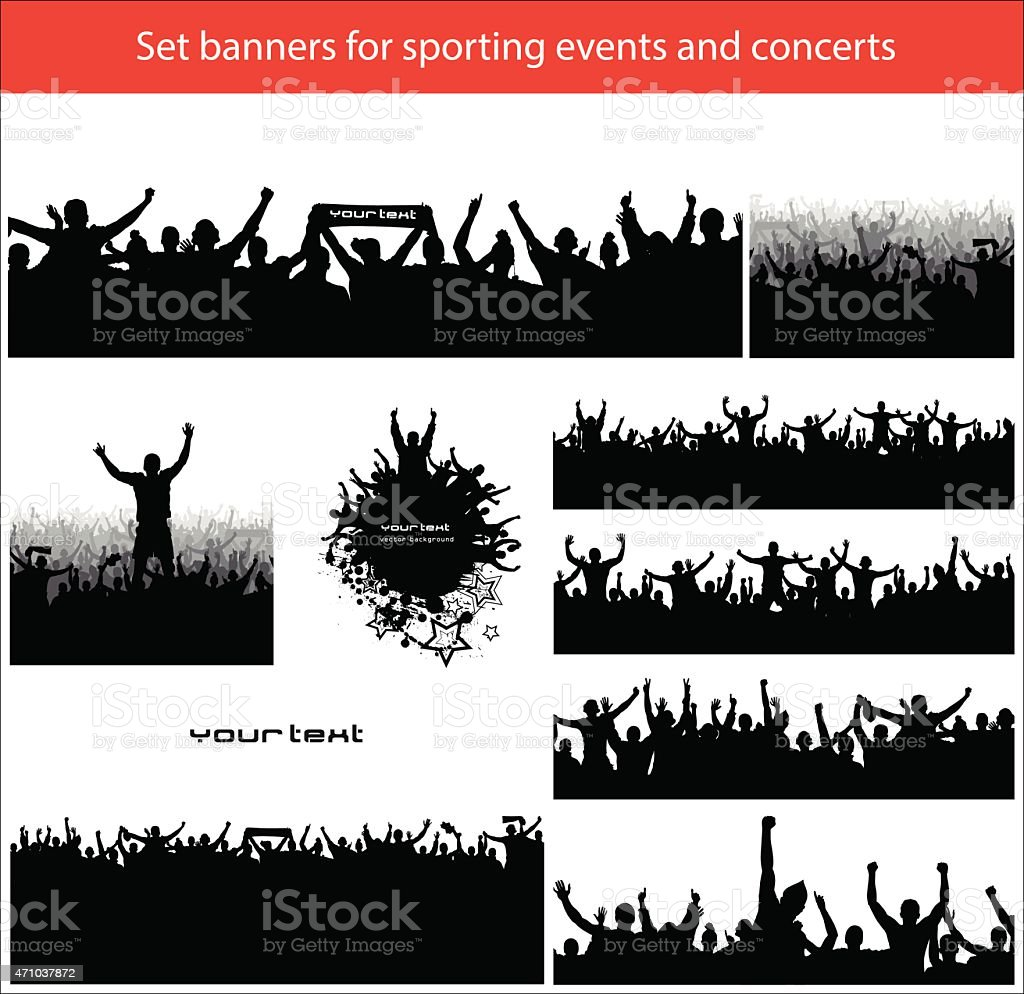 sports crowd clipart. collection banners for sports vector art illustration crowd clipart l