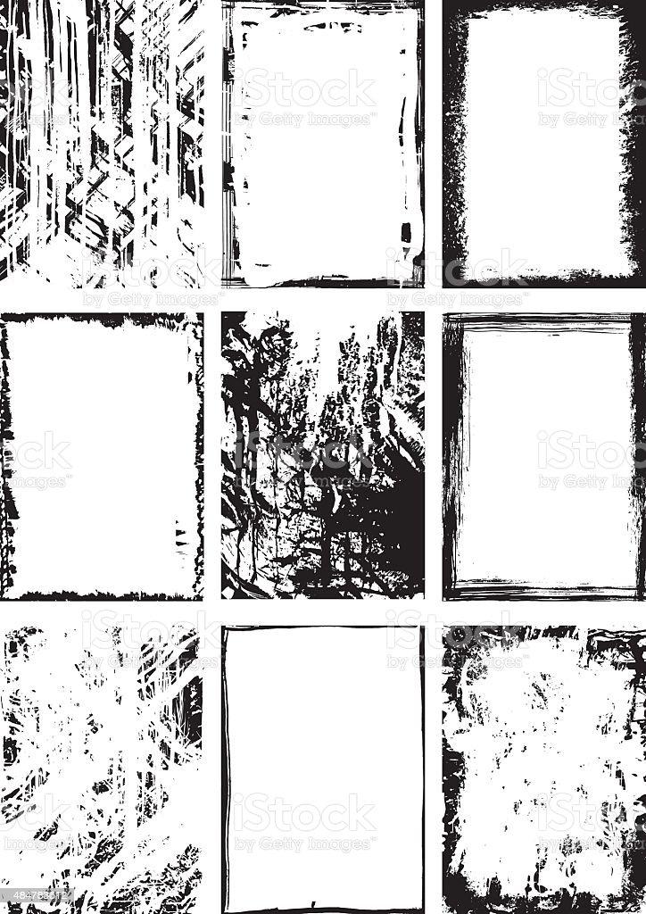 Noir Collection de grunge background et image - Illustration vectorielle