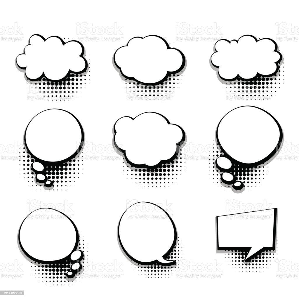Collection Blank Template Comic Text Speech Bubble Stock Vector Art ...