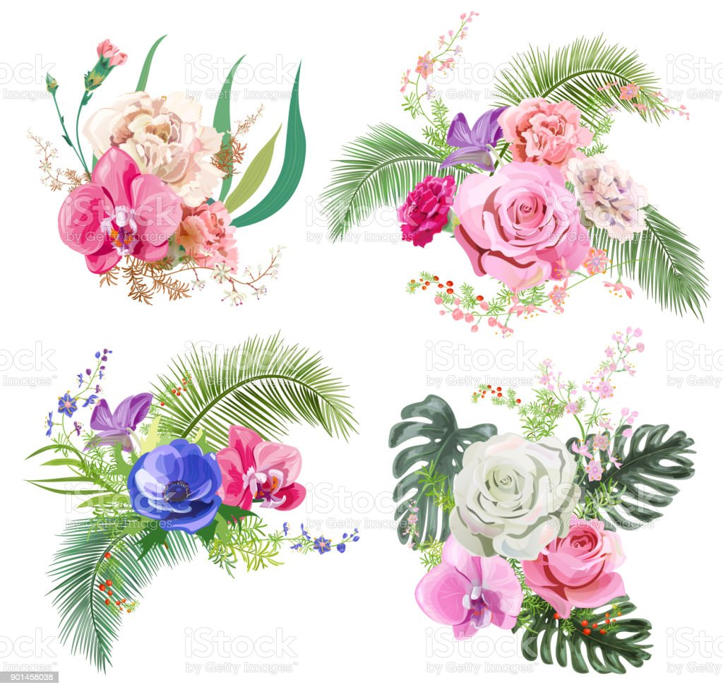 Collection bouquets of tropical flowers pink rose red carnation collection bouquets of tropical flowers pink rose red carnation purple orchid blue izmirmasajfo Images