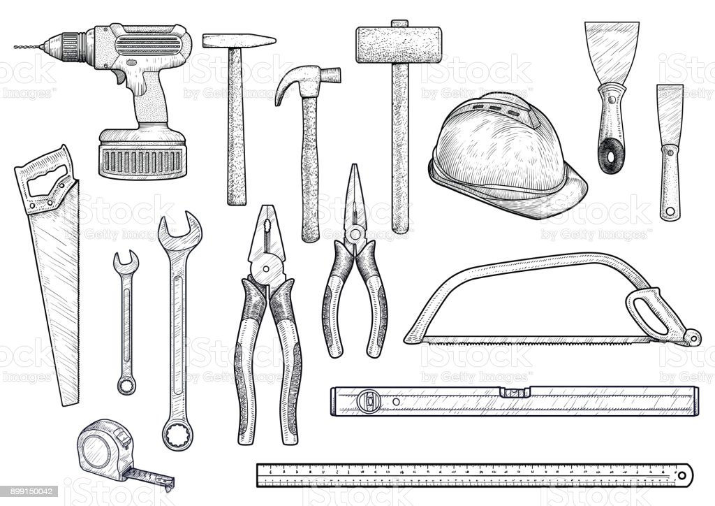 Collection, building, repair, tools illustration, drawing,   engraving, line art, vector vector art illustration