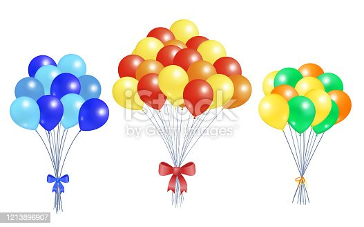 Set of bunches of helium colorful air balloons isolated on white background. Blown rubber inflatable balloon, multicolor creative elements with oxygen