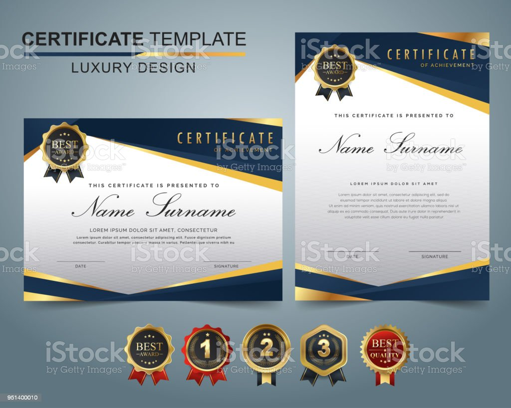 collection certificate template award dark blue color stock vector