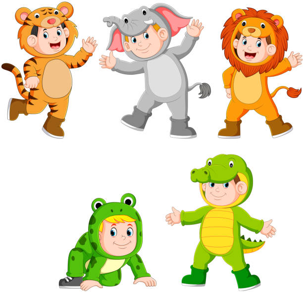 collection children wearing cute wild animal costumes illustration of collection children wearing cute wild animal costumes animal costume stock illustrations