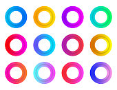 Collection circles bullet point button triangle flags isolated on white background. Colorful gradient markers. Vector illustration.
