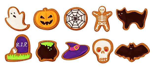 Collection colored halloween cookies vector cartoon illustration bakery candy with scary monsters