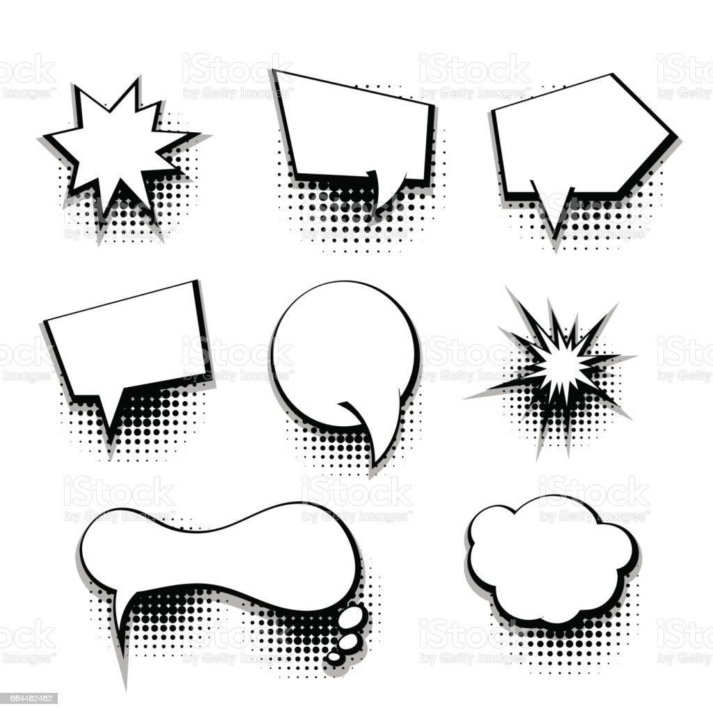 Collection Comic Text Blank Template Speech Bubble Stock Vector Art ...