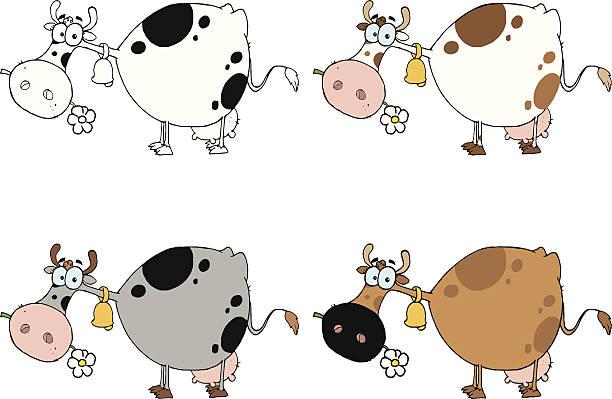 kollektion kühe - 1 - lustige kuh bilder stock-grafiken, -clipart, -cartoons und -symbole