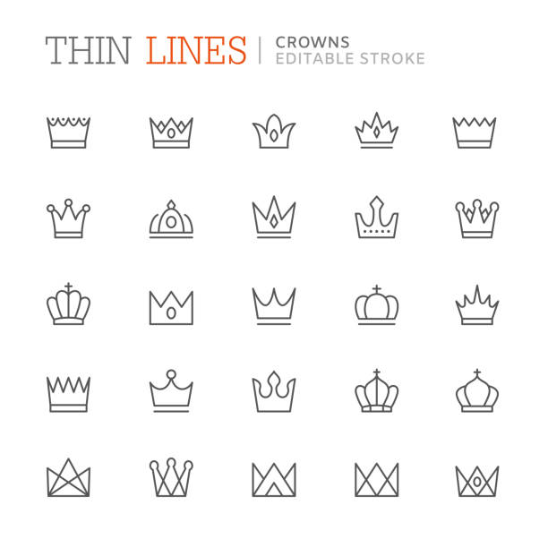 Collection crowns related line icons. Editable stroke Collection crowns related line icons. Editable stroke crown headwear stock illustrations