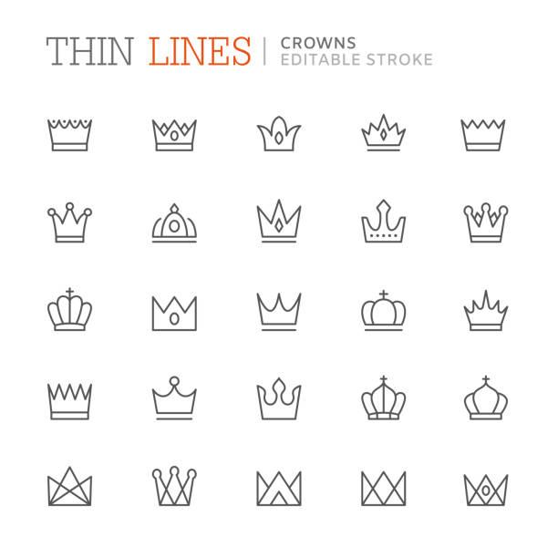 集合冠相關的行圖示。可編輯筆劃 - 皇冠 頭飾 幅插畫檔、美工圖案、卡通及圖標