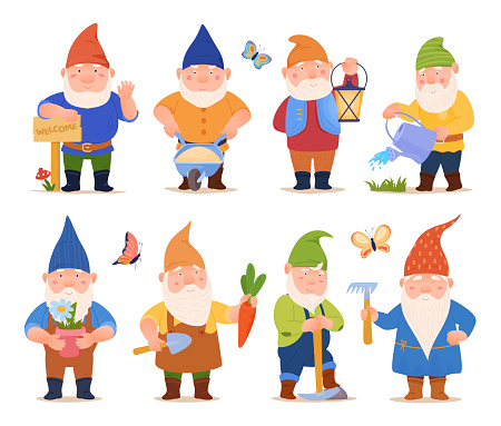 Collection cute funny garden gnomes vector flat illustration friendly fairy tail character gardener