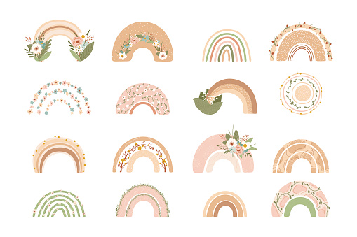 Collection cute rainbows with flowers in pastel colors isolated on white background for kids. Illustration in hand drawn style for posters, prints, cards, fabric, children's books. Vector