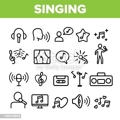 Collection Different Singing Icons Set Vector Thin Line. Singing And Listening Song And Music In Karaoke, Concert, Tape-recorder Or Audiophone Linear Pictograms. Monochrome Contour Illustrations