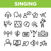 Collection Different Singing Icons Set Vector