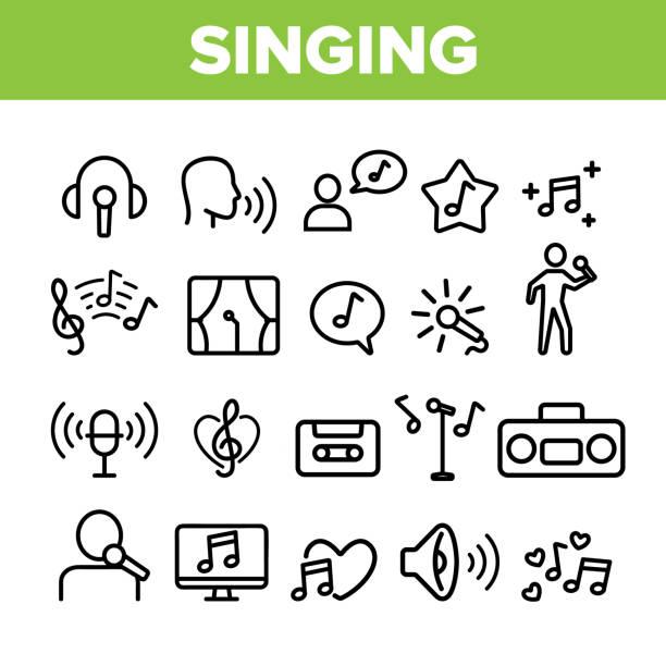 kolekcja różne ikony śpiewu zestaw wektor - muzyka stock illustrations