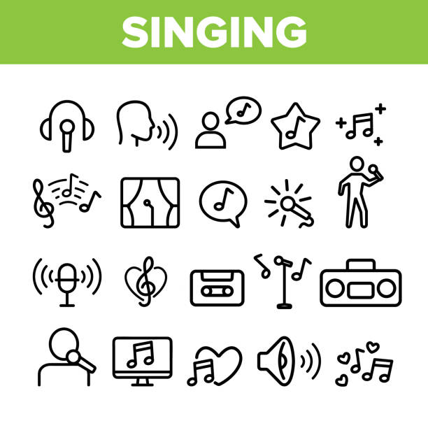Collection Different Singing Icons Set Vector Collection Different Singing Icons Set Vector Thin Line. Singing And Listening Song And Music In Karaoke, Concert, Tape-recorder Or Audiophone Linear Pictograms. Monochrome Contour Illustrations singer stock illustrations