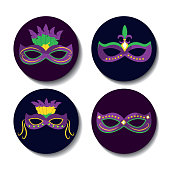 collection differents mardi gras carnival masks with feathers