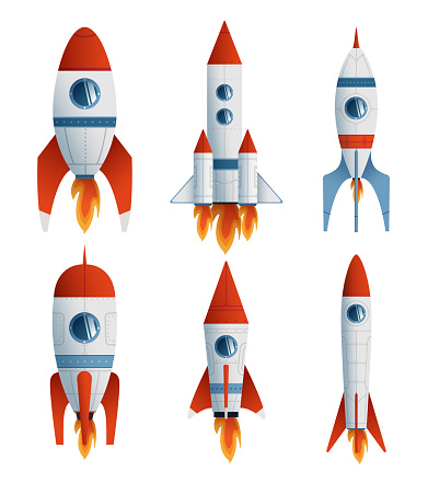 Collection flat icon rocket on white background. Vector flat illustration creative graphic design.