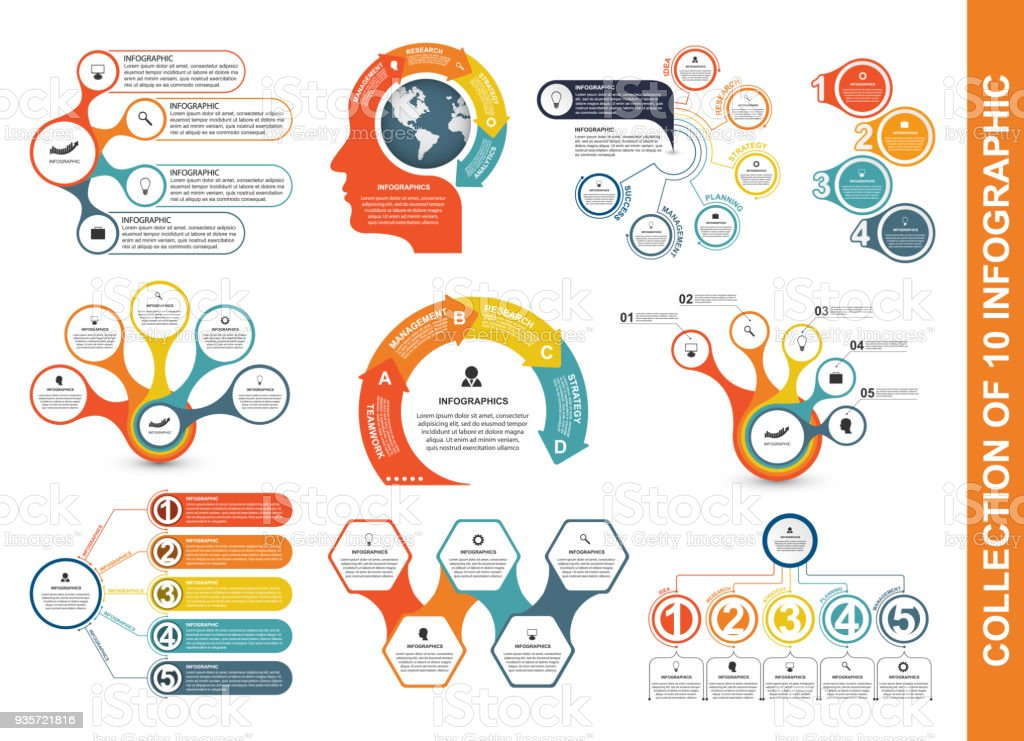 Collection flat infographics. Design elements. Infographics for business presentations or information banner. vector art illustration