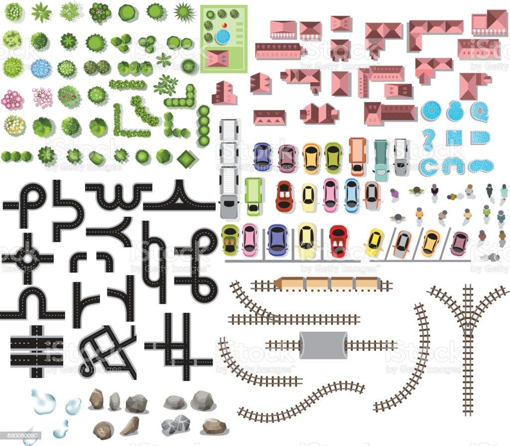 Sammlung Für Landschaft Baumdraufsicht Steinboden Textur Routenplan ...