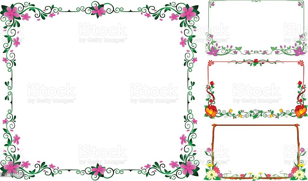 Collection Frame Flowers Vector Design Stock Vector Art