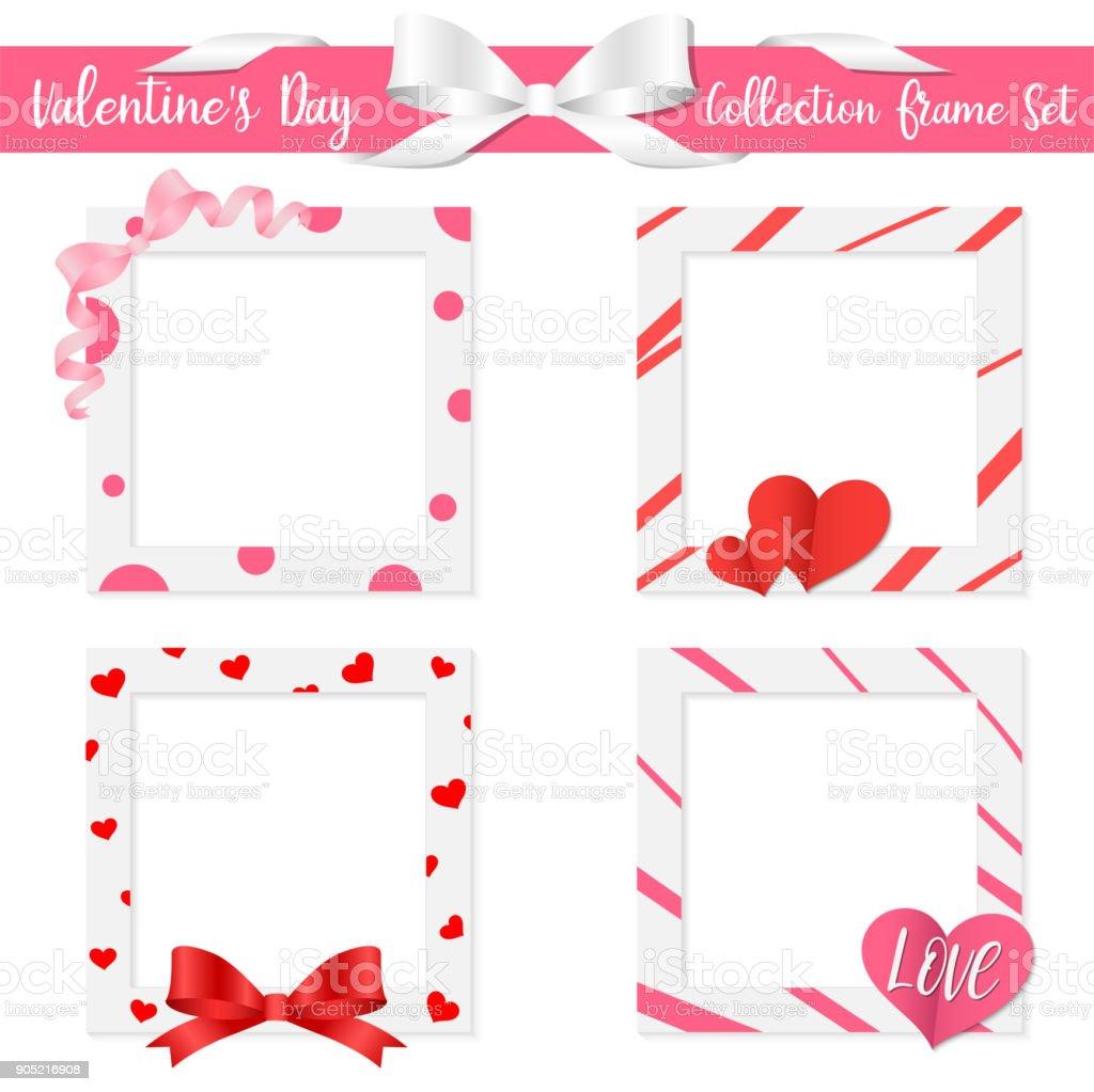 Colección Día De San Valentín Establecer Marco Tarjeta De La ...