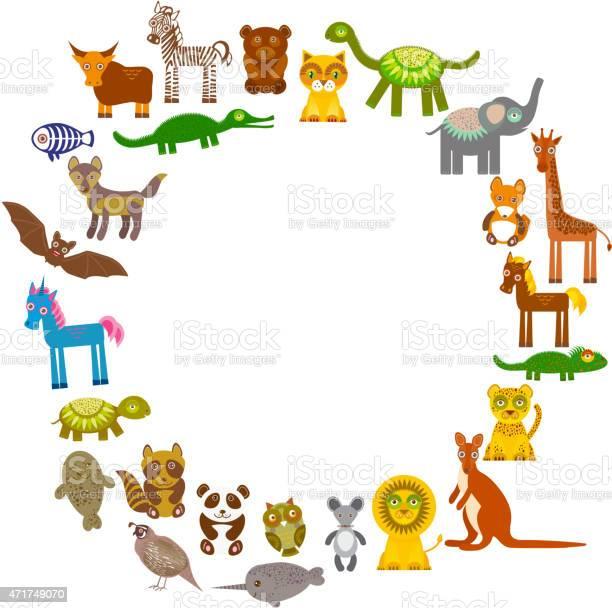 Collection funny cartoon animals card template circle template vector id471749070?b=1&k=6&m=471749070&s=612x612&h= qmqhm4nktxpsr2spdcg5py n i2rq 5ogadlqdzfbo=