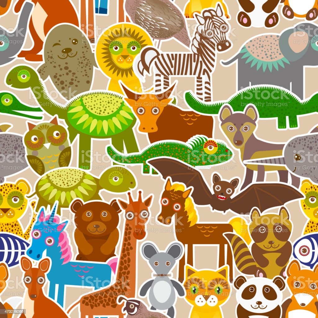collection Funny cartoon Animals seamless pattern on beige background. vector art illustration