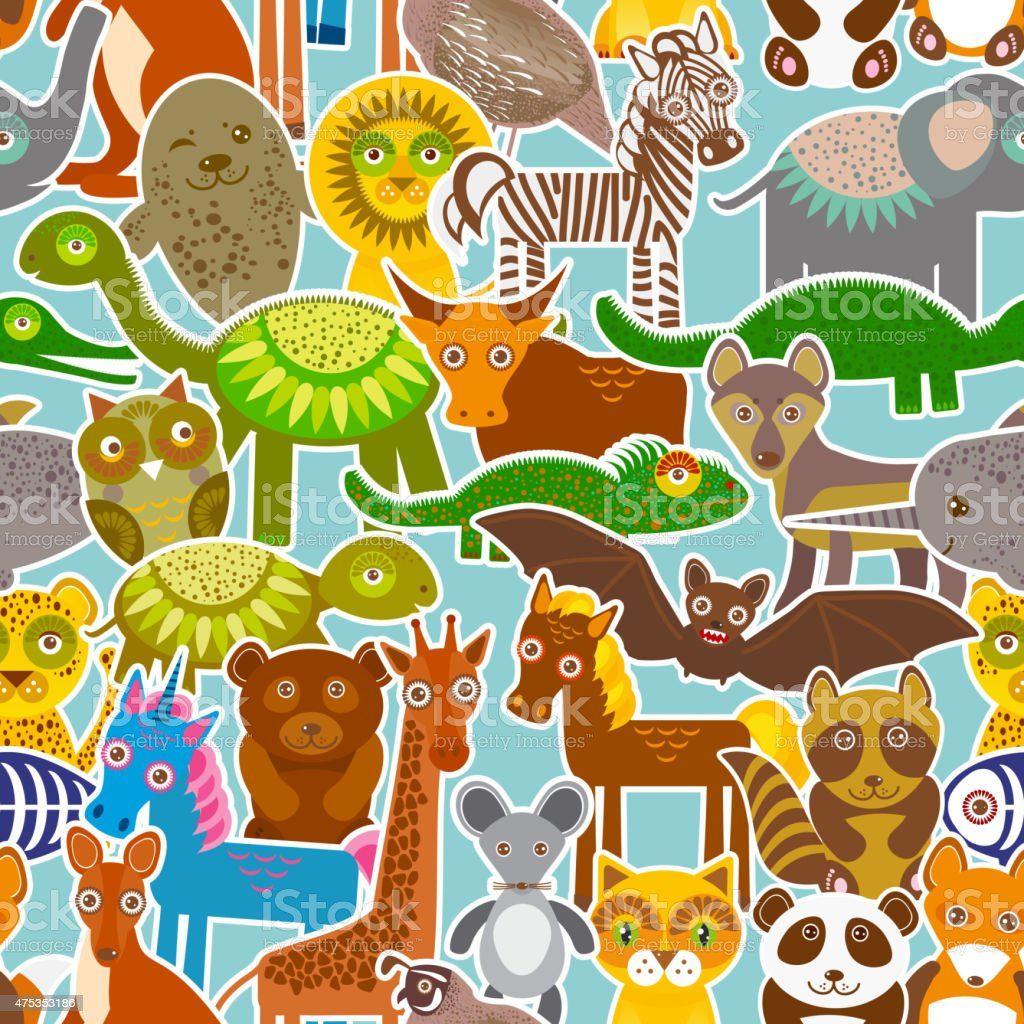 collection Funny cartoon Animals seamless pattern on blue background. Vector vector art illustration