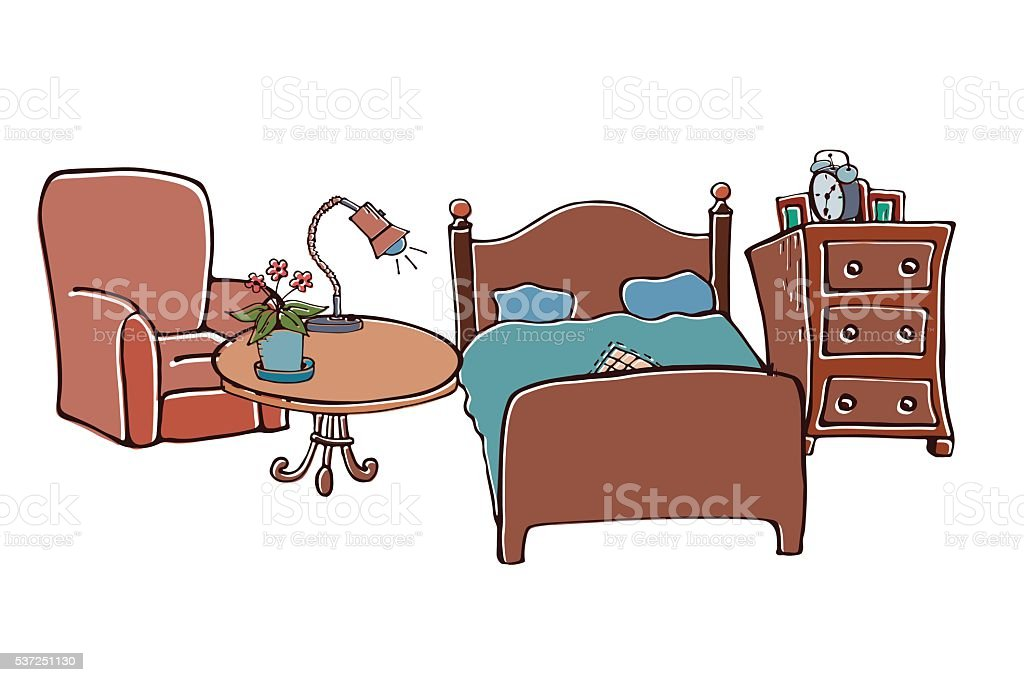 Collection furniture for the home vector art illustration