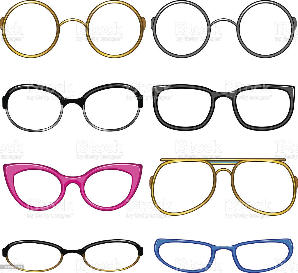 Collection glasses for every taste royalty-free stock vector art