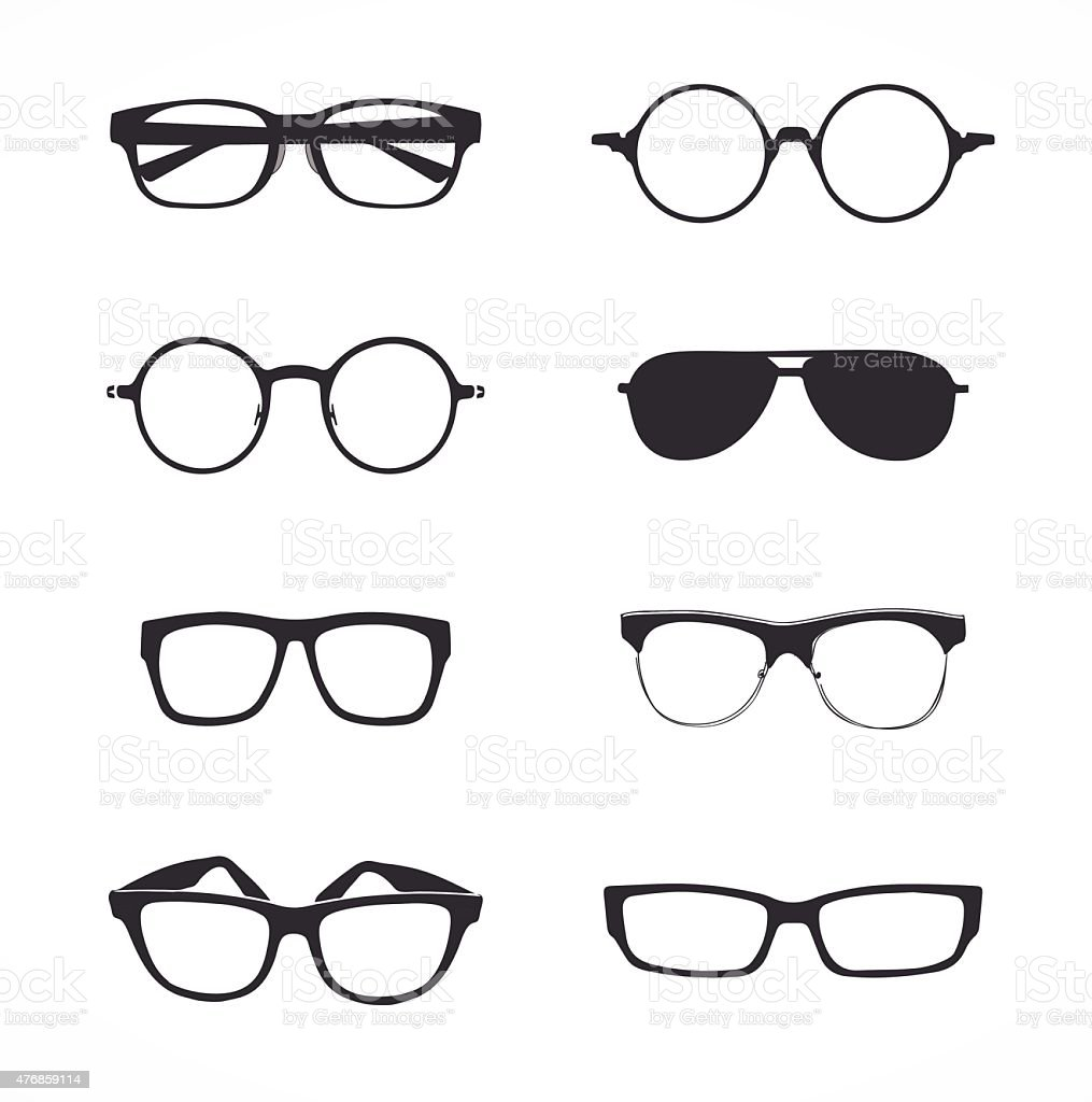 Collection glasses vector art illustration