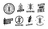 Collection gluten free seals. Various black and white designs, can be used as stamps, seals, badges, for packaging etc. Vector illustration