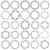 Collection hand drawn  graphic floral wreaths
