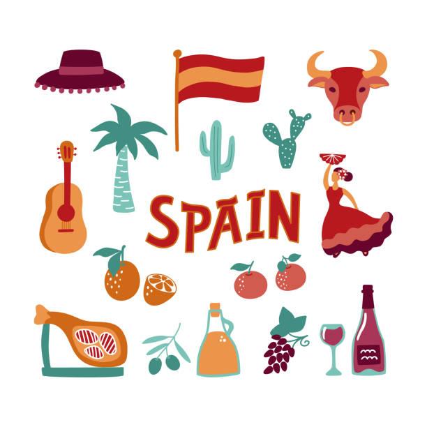 ilustrações de stock, clip art, desenhos animados e ícones de collection hand drawn symbols of spain. culture, food and natural signs. vector clipart. - oleo palma
