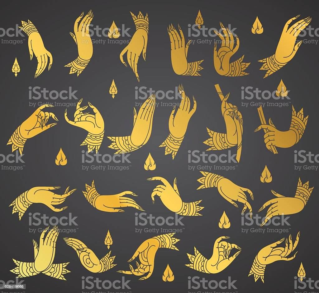 collection hands thai tradition style vector art illustration