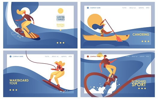 Collection horizontal banners about water extreme sport like surfing, canoeing, wakeboarding and flyboarding. Landing page templates good for header and web pages for sea activity and leisure