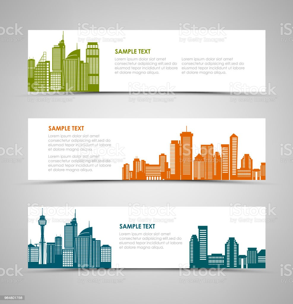 Collection horizontal banners with colorful silhouettes of cities royalty-free collection horizontal banners with colorful silhouettes of cities stock vector art & more images of abstract