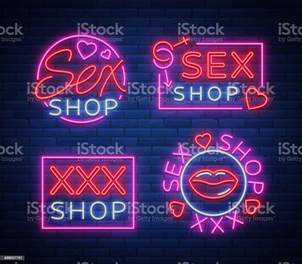 Collection Icon Sex Shop Night Sign In Neon Style Neon Sign A Symbol