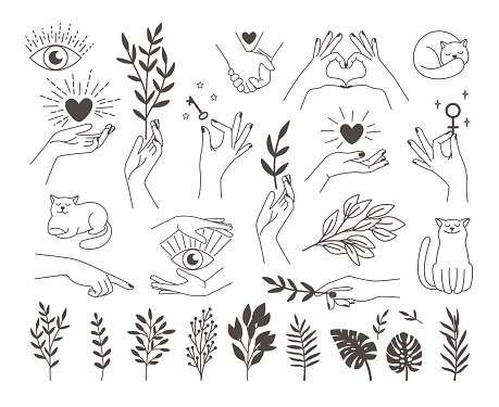 Collection icons magic hands tattoo. Design logos female vector hands with mystical illustrations heart, key, occult eye, cat icon and set of branches on white back
